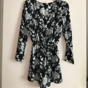 H&M black & white floral long sleeved romper
